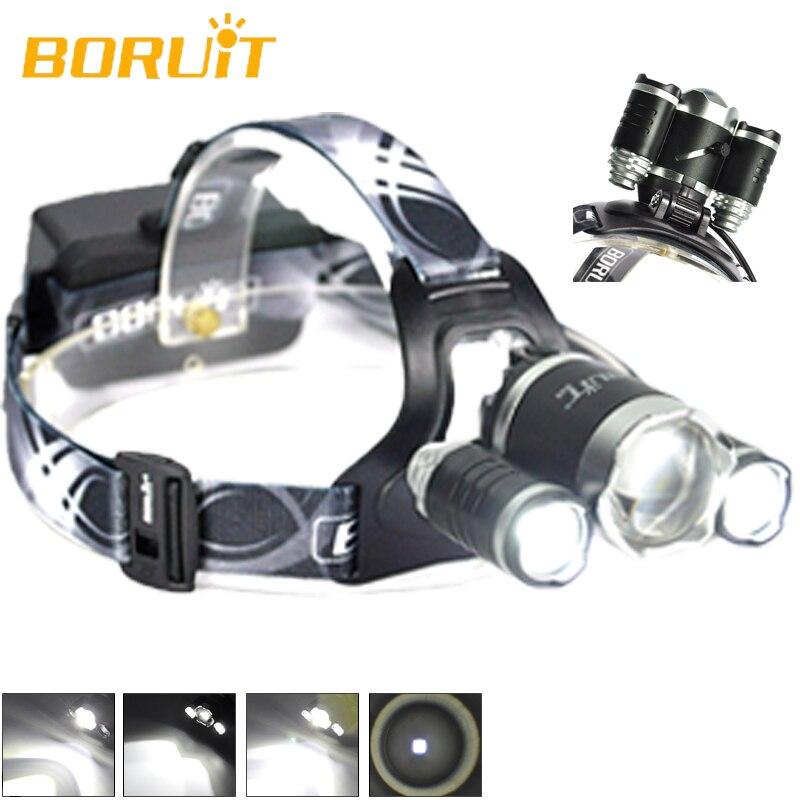 Boruit Tête Lampe B22 Cree XM-L2 + 2XPE Projecteur lampe de Poche LED Blanc Couleur Faisceau Vélo Linterna Frontale Phare