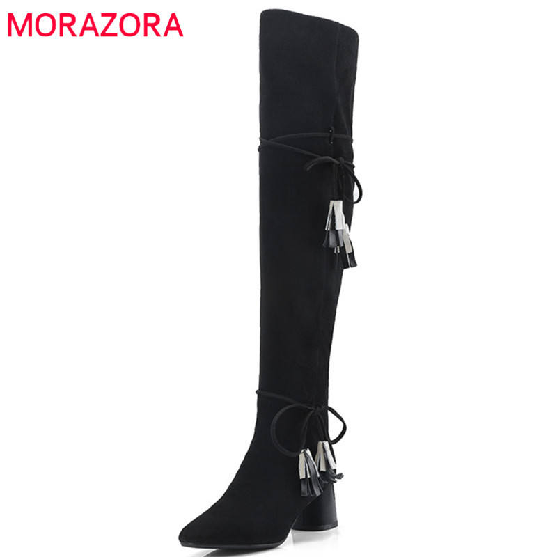 MORAZORA 2018 new arrive autumn winter boots women pointed toe thigh high boots suede leather high heels long boots shoes woman morazora 2018 new fashion shoes woman suede leather ankle boots pointed toe autumn winter slip on party high heels boots women