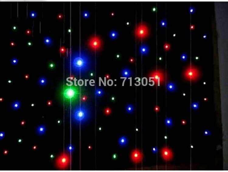 Envío gratis 2 m * 4 m Led estrella cortina Led estrella tela Dj telón de fondo tela para la decoración de la boda a China almacén para Sam.