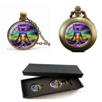 Chakra Yoga Necklaces Pendants Bronze Chain Hinduism Necklace Sign Meditation Photo Necklaces Pocket Watch With Free