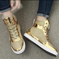 2016 spring new fashion and leisure shoes flat shoes high golden female hip-hop shoe Black Gold Silver