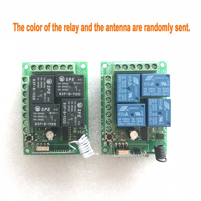 433Mhz Universal Wireless RF Remote Control Switch KR1204 DC 12V 4 Channel Relay Receiver Module and 433 Mhz 4 Button Controller