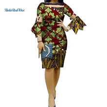 Summer African Print Dresses for Women Yarn Pearls Patchwork Flare Sleeve Dress Party Bazin Riche African Women Clothing WY076