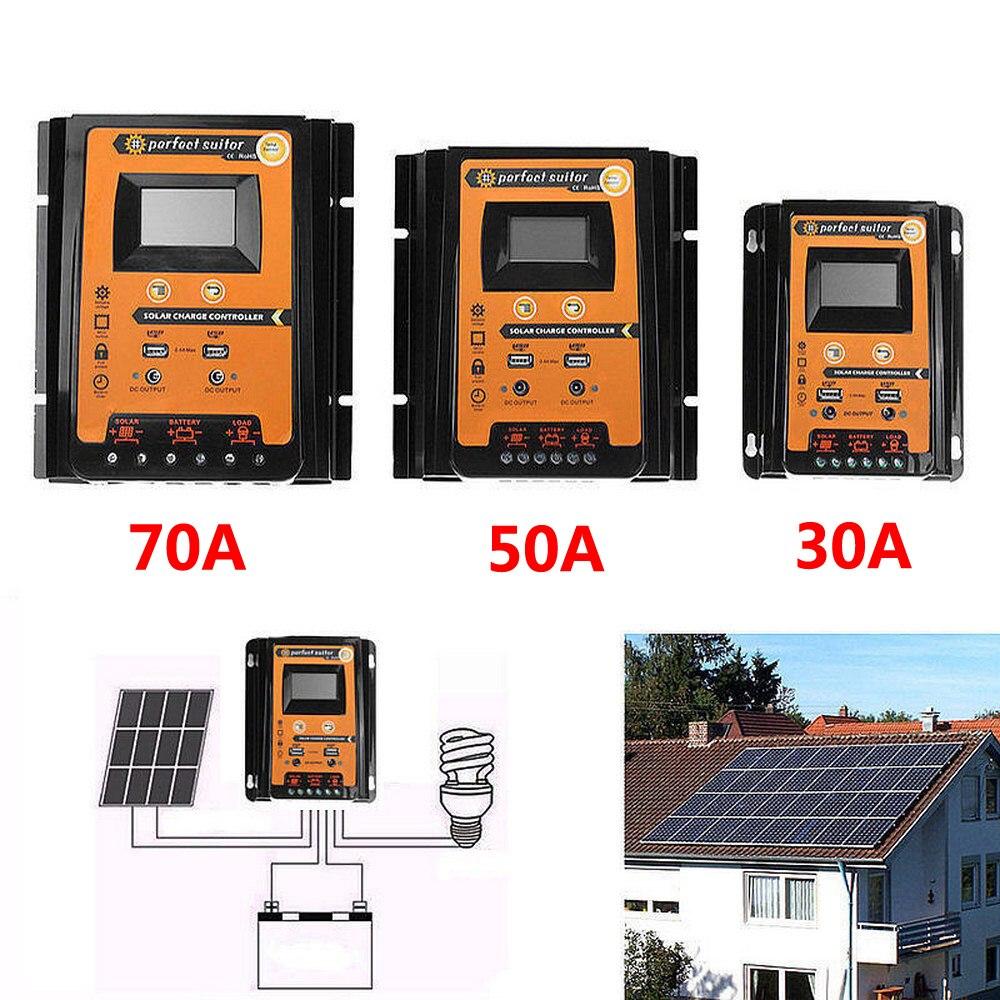 PWM регулятором солнечного заряда контроллер 30/50/70A со слежением за максимальной точкой мощности контроллер Защитная панель для зарядки двой...