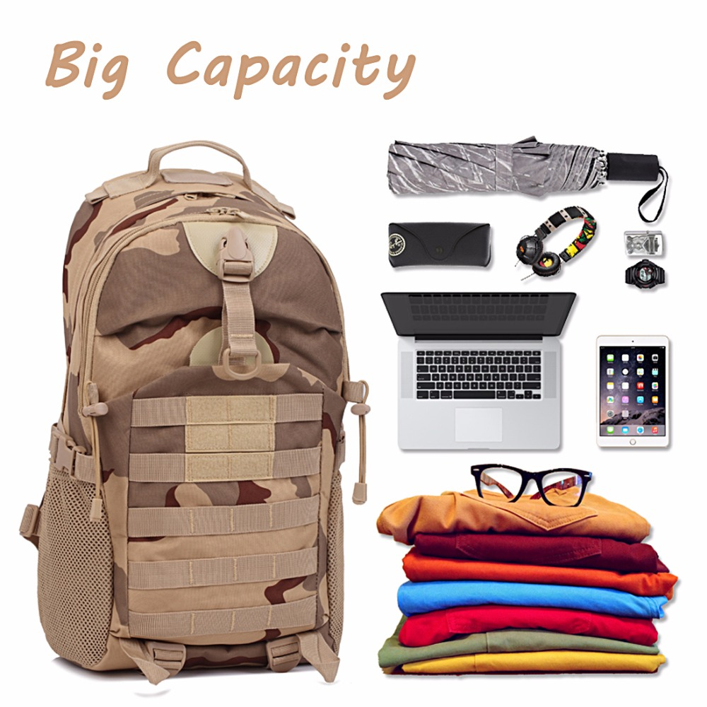 Military 3D Backpack Shoulder Bag 35L Molle System Waterproof camouflage tactics pack for Travelling outdoor climbing sports
