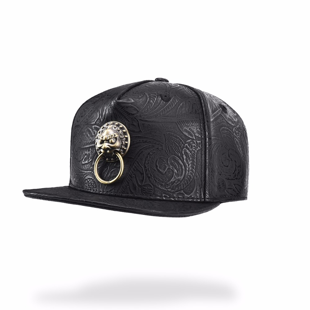 Leather Men Black Adult Baseball Caps Vintage Lion Head Dad Hat Streetwear Hip Hop Women Casual Adjustable Hat Printing Caps