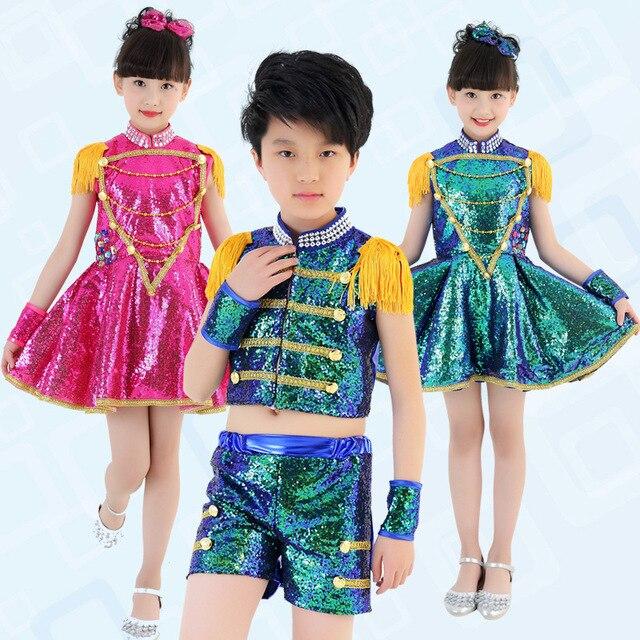 Niños lentejuela Salón modernos hip hop danza jazz trajes vestido superior  Pantalones cortos para Niñas Niños 345ad1398a4