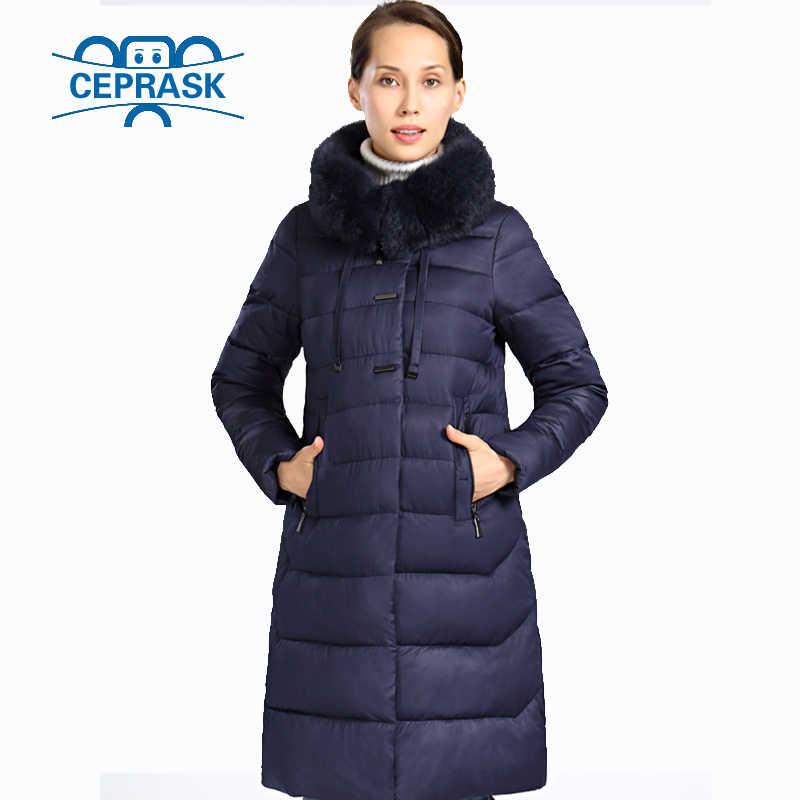 2018 Nouvelle Veste D'hiver Femmes Fourrure Grandes Tailles Longue À Capuche Manteau D'hiver Chaud Femmes Biologique-Bas Femme Parka 6XL CEPRASK