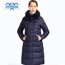 2019 New Winter Jacket Women Really Fur Plus Size Long Hoodie Warm Winter Coat Womens Biological-Down Female Parka 6XL CEPRASK(China)