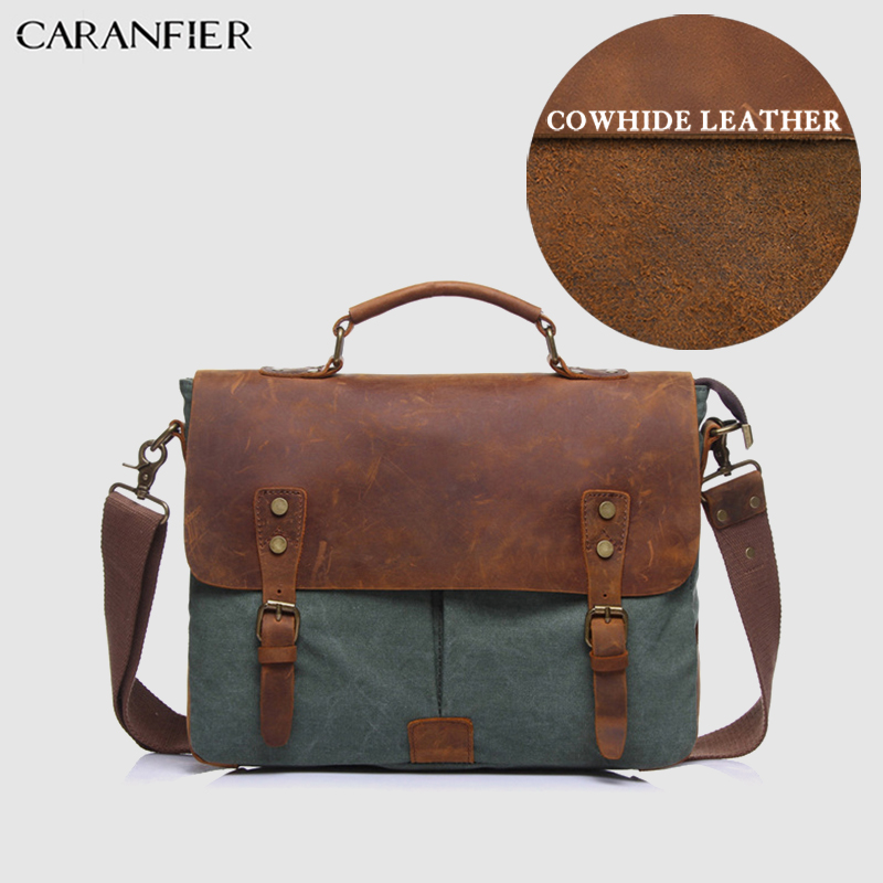 CARANFIER Mens Briefcase First Layer Cow Leather Canvas Unisex Patchwork Bags Business Large Capacity Computer Travel BagsCARANFIER Mens Briefcase First Layer Cow Leather Canvas Unisex Patchwork Bags Business Large Capacity Computer Travel Bags