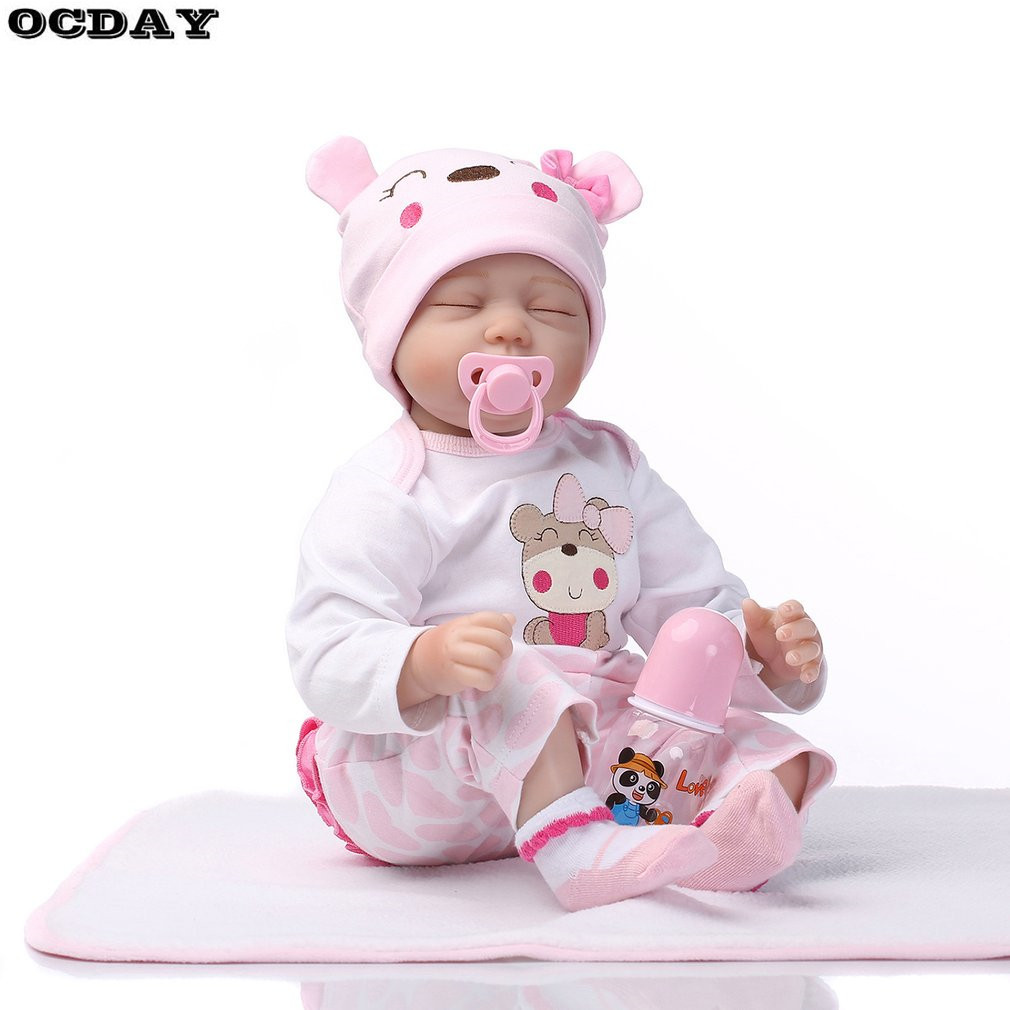 OCDAY 55 cm Realistic Soft Silicone Vinyl Baby Dolls Lifelike Newborn Doll Handmade Reborn Dolls Christmas Gift For Children