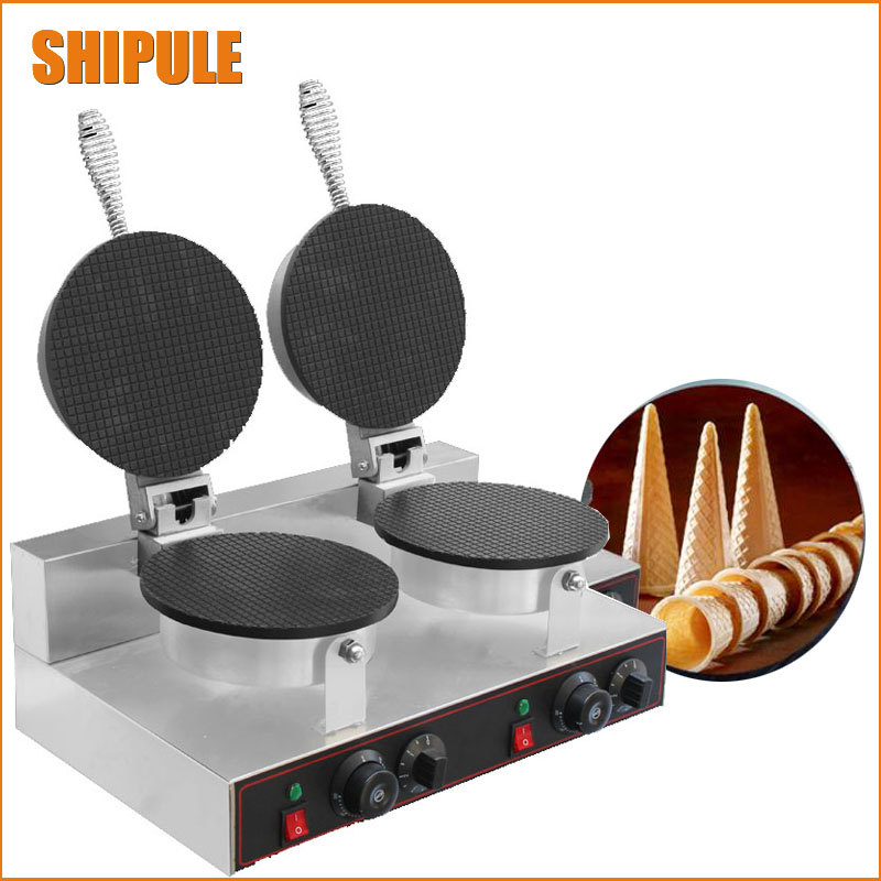 Electric Commercial Pancake making machine Ice Cream cone maker  waffle cone maker square pan rolled fried ice cream making machine snack machinery