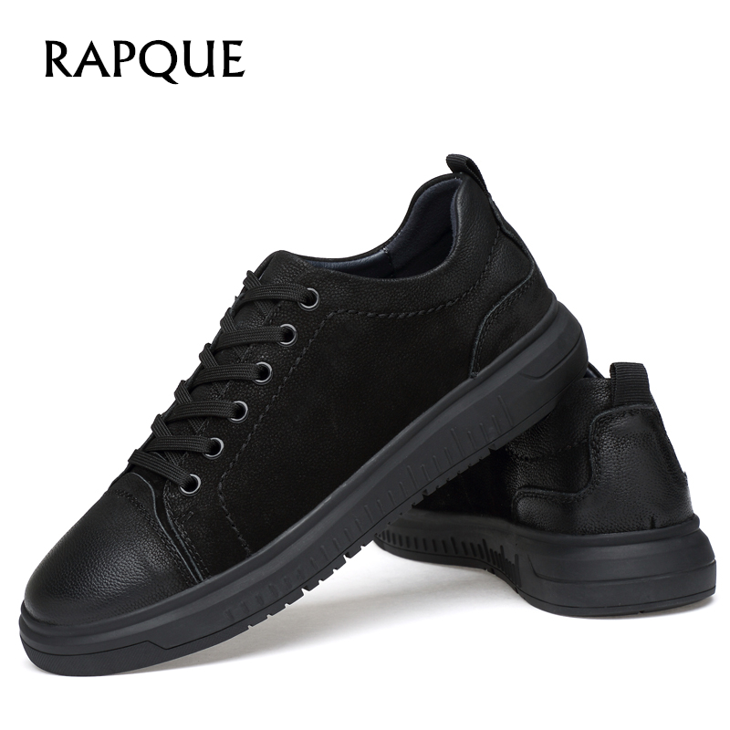 Mens casual Shoes Sneakers Leather Genuine Fashion brogue Board Shoe men Flats black Walking Driving shoes