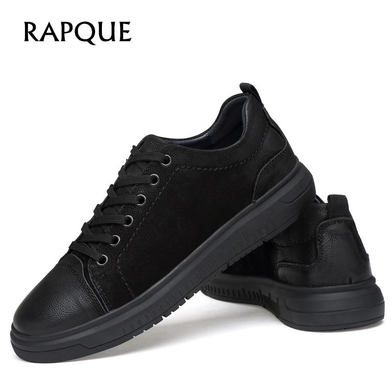Hommes chaussures décontractées Sneakers en cuir véritable mode brogue conseil chaussure chaussures plates pour homme noir marche conduite chaussures solide a1702 RAPQUE