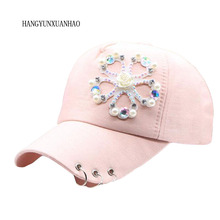 HANGYUNXUANHAO New Fashion Cotton Diamond Baseball Cap Snapaback Hat For Women Solid Adult Casual Girls Adjustable Sun