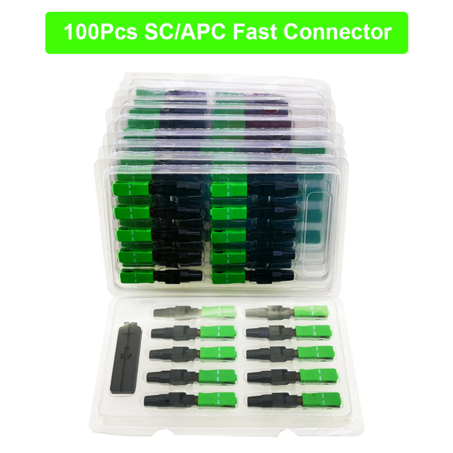 100PCS SC/APC FTTH Optical Fiber Fast Connector Quick Connector Single mode fiber Embedded Type Telecomm Grade cold junction