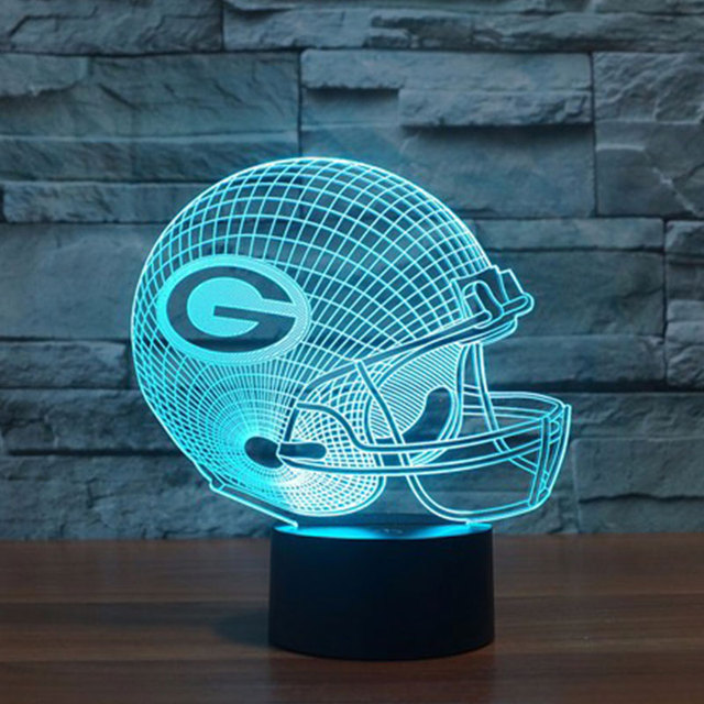 NFL Green Bay Packers Football Helmet  LED Light 7 Color Table Lamp Colorful 3D Night Light Child Christmas Gift