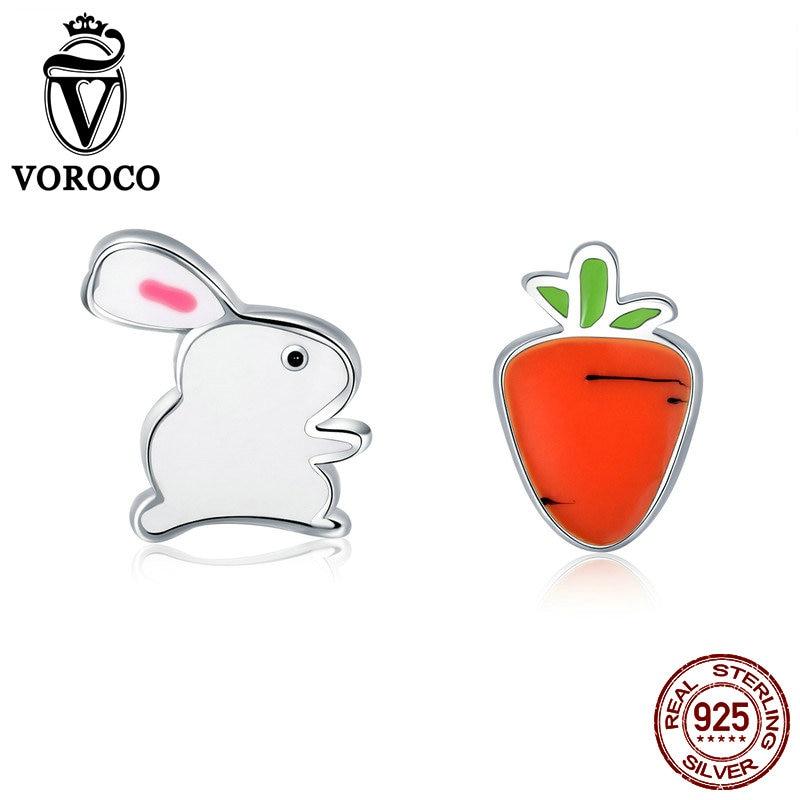 VOROCO Carrot-Earrings Jewelry Korean-Style Women 100%925-Sterling-Silver Rabbit