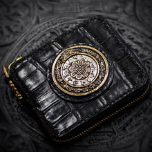 Snow Tibet handmade crocodile leather wallet men wallets luxury short paragraph retro casual lucky womens wallets and purses(China)