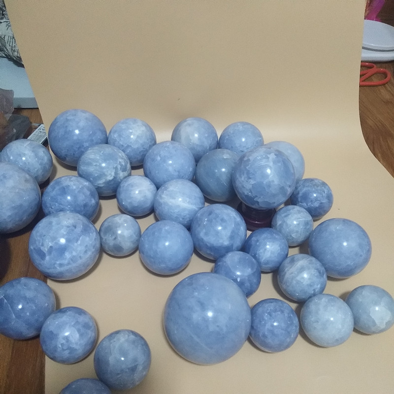 50-100mm natural celestine stone crystal ball divination energy stone ball  photography decorated ball without added pigment