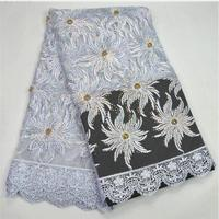 2017 The Most Popular New High Quality Beads African Embroidery Rhinestone Twill Lace Fabric 5 Yards