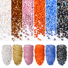 T-TIAO CLUB 1440pcs/bag Nail Art Rhinestones Mixed Size Shiny AB Crystal 3D Tip Decoration for Manicure Accessories