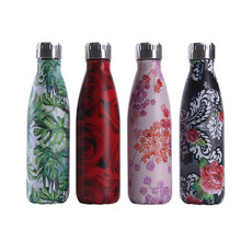 Plant Printing Water Bottle Vacuum Flask Creative Fashion Stainless Steel Colorful Outdoor Sport Insulation Drinking Cup
