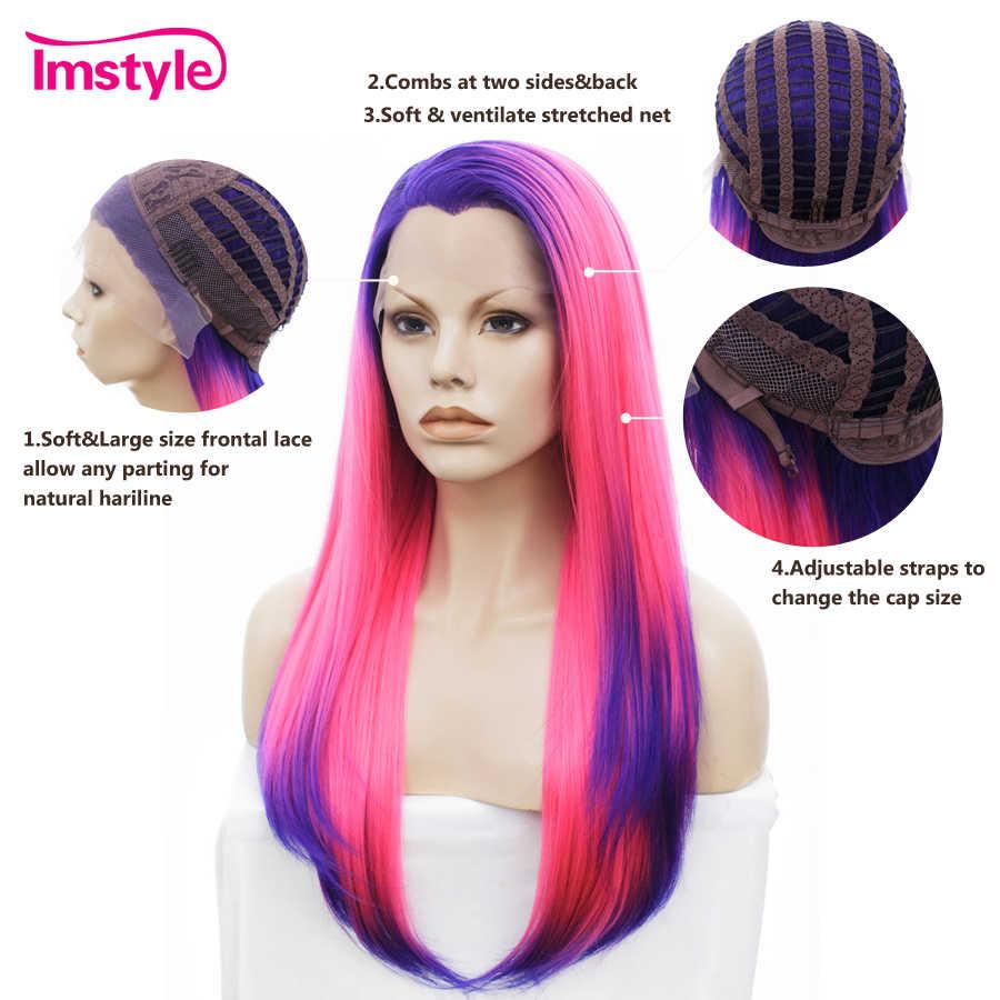 Imstyle, парики на шнурках спереди, прямые длинные розовые парики для женщин, косплей, Термостойкое волокно, синтетические волосы, парик на шнурках, Безглютеновые Вечерние