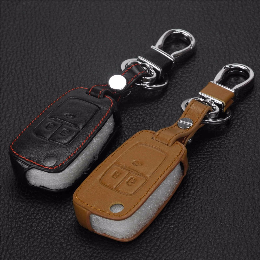 3 buttonleather remote control car keychain key cover bag case for chevrolet cruze camaro equinox malibu