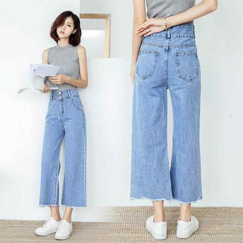 2019 новые весенние женские синие джинсы для женщин, Джинсы бойфренда с высокой талией, расклешенные джинсы для женщин s, женские широкие брюки размера плюс
