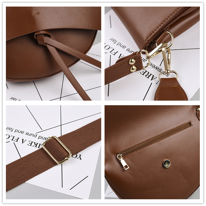 Burminsa Vintage Saddle Female Shoulder Bags Wide Strap Large Capacity Ladies Hand Bags PU Leather Crossbody Bags For Women 2019 5
