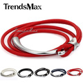 Trendsmax 6mm Leather Bracelet Silver Tone Star Charm Multi Btrand White Black Red Man-made Leather Bracelet Wristband LBM39