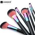 Vander Profissional Cobre 7 Pcs Make Up Brushes Set Fundação Face & Olhos Em Pó Cosméticos Maquiagem Kits Kabuki Pincel Maquiagem saco