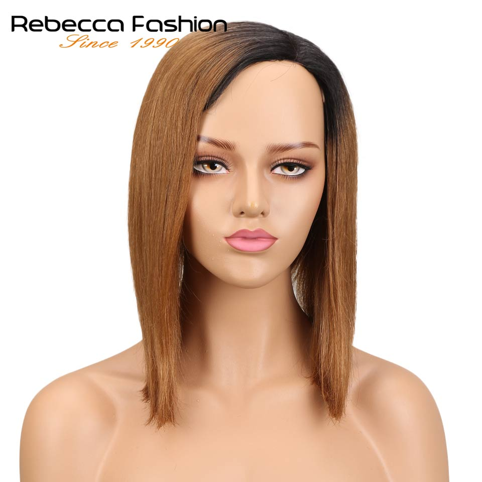 Rebecca Left Side Part Ombre Human Hair Lace Wigs For Black Women Peruvian Remy Straight Hair Short Wig 8 Colors Free Shipping