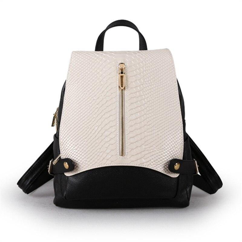 Nesitu Gute Qualität Neue Mode Schwarz Blau Silbrig Weiß Echtem Leder frauen Rucksack Mädchen Dame Weibliche Reisetaschen M9009-in Rucksäcke aus Gepäck & Taschen bei  Gruppe 1