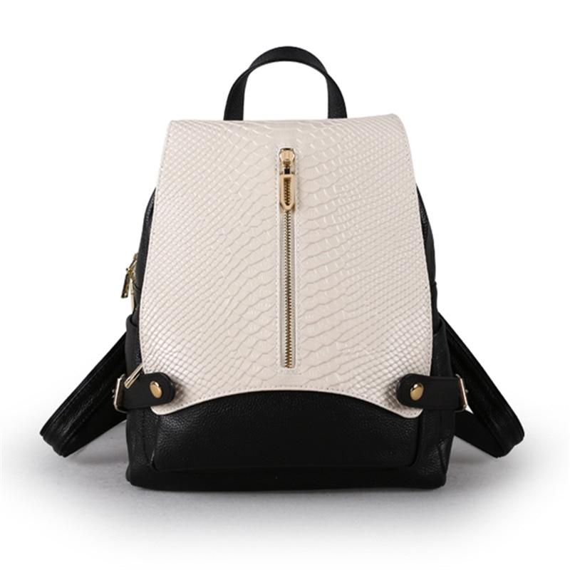 Nesitu คุณภาพดีใหม่แฟชั่นสีดำสีฟ้าเงินแท้สีขาวหนังกระเป๋าเป้สะพายหลังหญิงสาวกระเป๋าเดินทางหญิง M9009-ใน กระเป๋าเป้ จาก สัมภาระและกระเป๋า บน   1