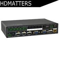 VGA HDMI HDBaseT Switcher Scaler extender Switch & Scale 5 входы в 2 выходы с помощью HDBaseT & HDMI с RS232
