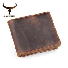 Carteiras masculinas de couro legítimo, carteiras de couro de vaca genuíno de luxo, preço de dólar, 100% carteira masculina original