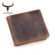 Portefeuille en cuir de vachette pour hommes, portefeuille de luxe, porte monnaie de style court, marque originale de bonne qualité, 100%
