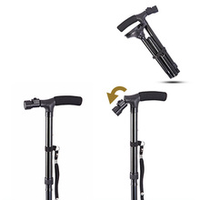 Aluminium Alloy LED Light Old Man Folding Trekking Poles T-handle Hiking Cane Walking Stick for Elders Health99