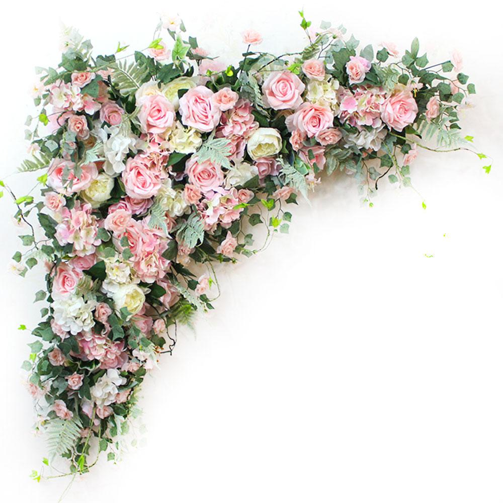 0.8/1.2m Wedding Arch Backdrop Flower Arrangement Party Event Decor Artificial Flowers Wall Silk Rose Peony Plant DIY Garland