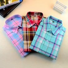 Brand New 2015 Fashion Women Blouses Long Sleeve Turn-down Collar Plaid Shirts Casual Cotton Shirt Style Blusas Femininas