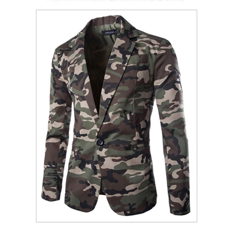 Military Camouflage Slim Fit Fashion Blazer Suit Cotton Single Button Suit Jacket Men Americanas Hombre Suit Coat Men