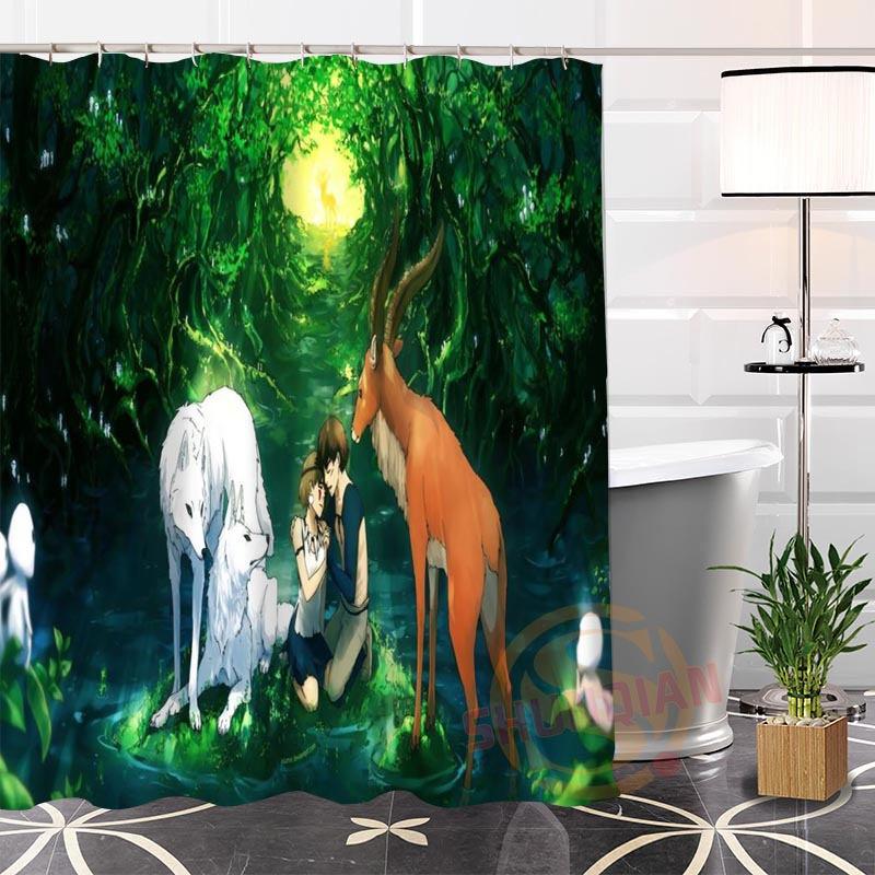 Best Nice Custom Princess Mononoke@1 Fabric Hot Modern Shower Curtain bathroom 100% Polyester With Hooks Popular H0223-69