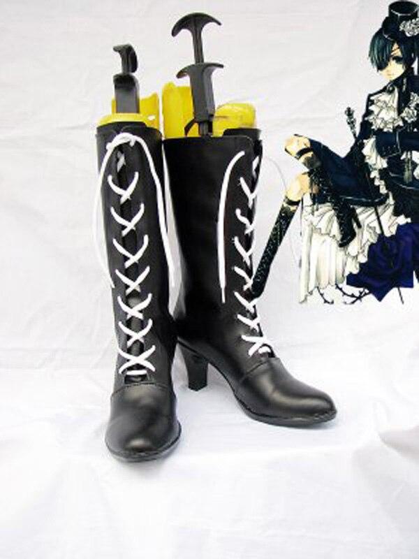 Черный Батлер Ciel Черный Кружево со шнуровкой ботинки для костюмированной вечеринки Обувь Аниме партии Косплэй show Сапоги и ботинки для дево...