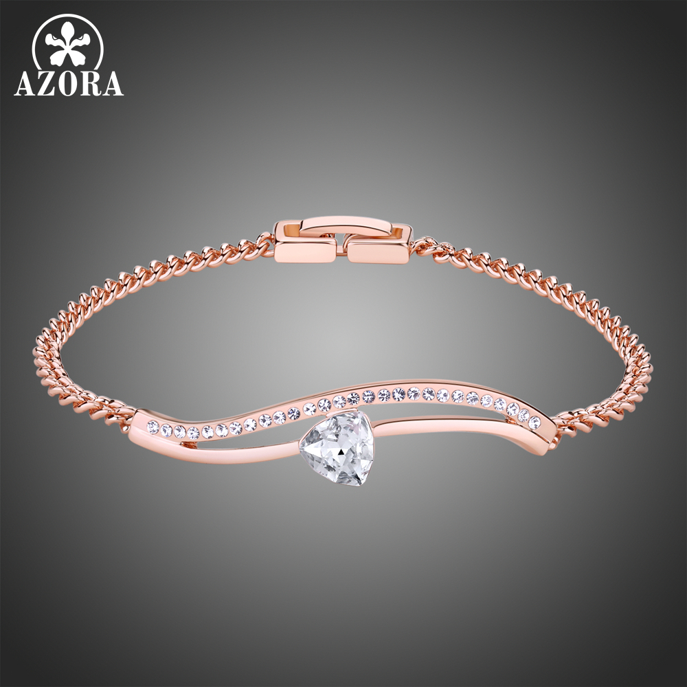 AZORA Rose Gold Color Clear Heart Stone Chain Link Bracelet for Women Ladies Shining Clear Austrian Crystals Jewelry TS0197 zeg high quality pan 1 1 original copy of the logo heart bracelet chain chain link chain plated rose gold free package mail