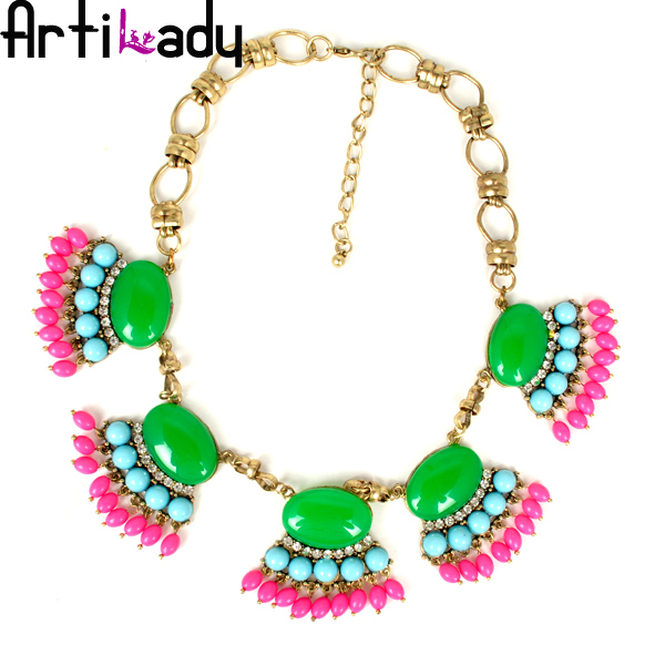 Artilady fashion pink stone vintage colorful statement necklace engagement necklace jewelry womens jewelry 2015 new NR