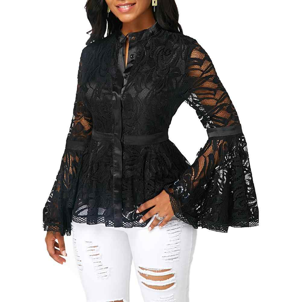 2019 Nieuwe Plus Size Vrouwen Mode See-through Lace Lange Flare Mouw Blouse Slim Fit Hand-wassen Blouse top