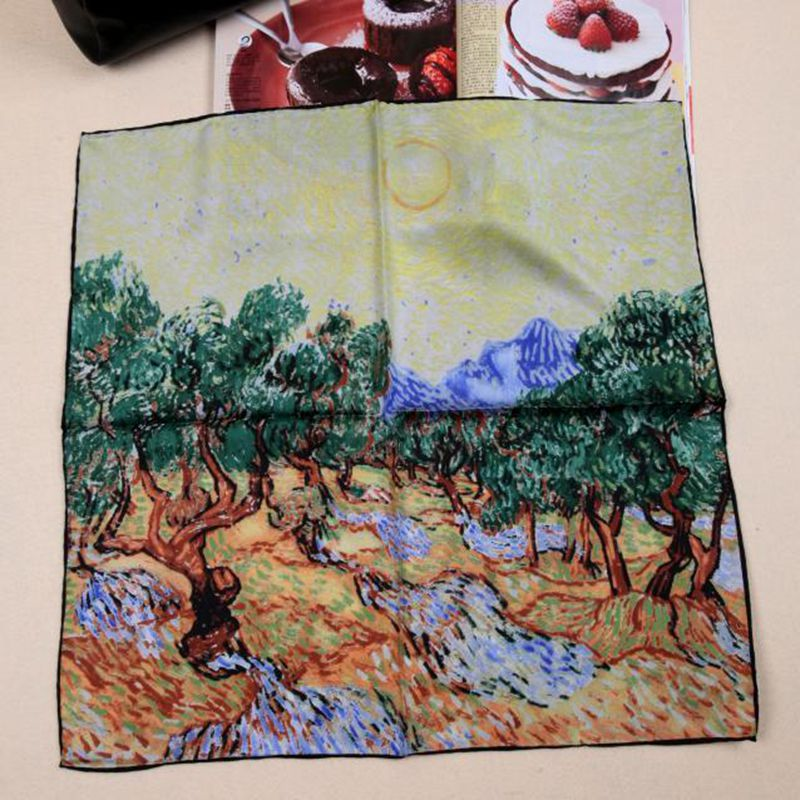 52x52cm Oil Painting 100% Silk Twill Scarf Small Square Silk Scarf Women Scarves & Wraps Neckerchief for OL Fashion Accessories