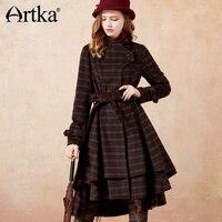 Artka Для женщин зимние шерстяные Винтаж Изящные плед длинное пальто куртка FA10675D
